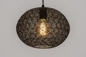 hanglamp 73946 modern metaal zwart mat rond