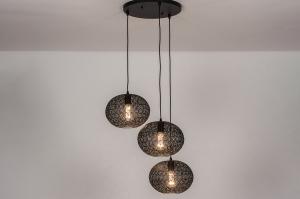 hanglamp 73949 landelijk rustiek eigentijds klassiek metaal zwart mat