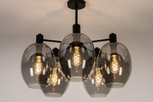 plafondlamp 73952 modern retro eigentijds klassiek art deco glas metaal zwart mat grijs rond
