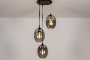 hanglamp 73954 modern retro eigentijds klassiek glas metaal zwart mat grijs rond