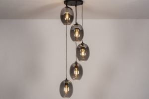 hanglamp 73955 modern retro eigentijds klassiek glas metaal zwart mat grijs rond