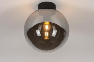 plafondlamp 73956 modern retro eigentijds klassiek glas metaal zwart mat grijs rond