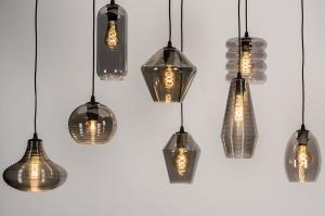hanglamp 73957 modern retro eigentijds klassiek glas metaal zwart mat grijs bruin