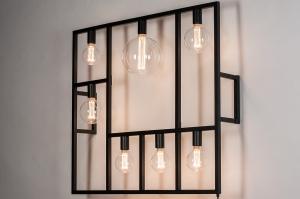 wandlamp 73959 industrie look modern metaal zwart mat rechthoekig