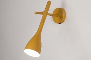 Wandleuchte 73963 modern Retro Metall Gelb rund laenglich