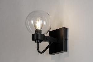 wandlamp 73972 landelijk rustiek modern eigentijds klassiek art deco glas helder glas metaal zwart mat