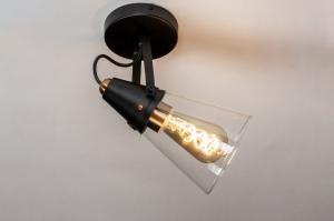 wandlamp 73973 landelijk rustiek modern eigentijds klassiek glas helder glas metaal zwart mat messing