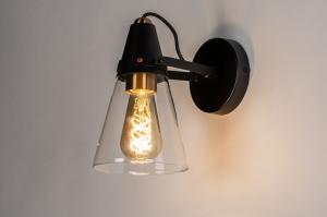 plafondlamp 73973 landelijk rustiek modern eigentijds klassiek glas helder glas metaal zwart mat messing