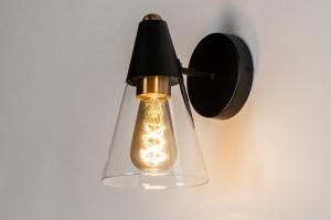 wandlamp 73975 landelijk rustiek modern eigentijds klassiek glas helder glas metaal zwart mat messing