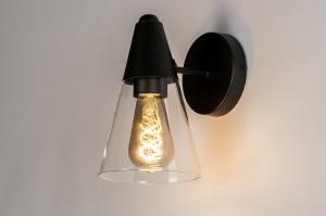 wandlamp 73976 modern glas helder glas metaal zwart mat
