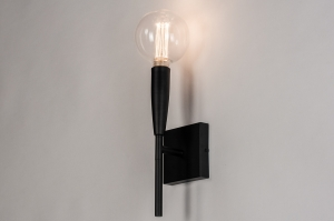 Wandleuchte 73977 laendlich rustikal modern zeitgemaess klassisch Metall schwarz matt