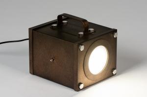 tafellamp 73978 industrie look design modern stoer raw metaal roest bruin brons rechthoekig