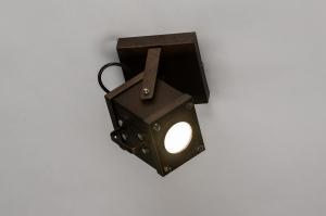 wandlamp 73979 industrie look design modern stoer raw metaal roest bruin brons rechthoekig