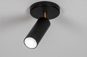 plafondlamp 73980 design landelijk rustiek modern eigentijds klassiek metaal zwart mat messing