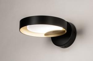 wandlamp 73983 design modern retro eigentijds klassiek art deco metaal zwart mat goud rond
