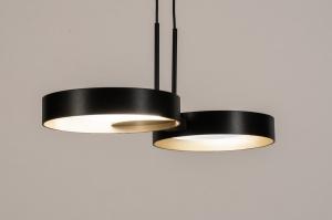 plafondlamp 73984 design modern retro eigentijds klassiek art deco metaal zwart mat goud rond