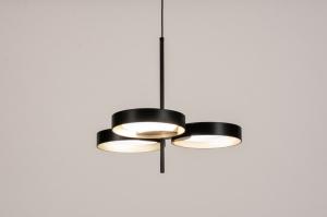 plafondlamp 73985 design modern retro eigentijds klassiek art deco metaal zwart mat goud rond