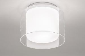 plafondlamp 73987 modern retro glas wit opaalglas helder glas wit mat chroom rond