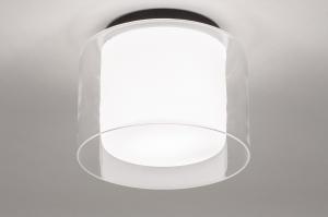 Deckenleuchte 73988 modern Retro Glas mit Opalglas klares Glas schwarz matt weiss matt rund
