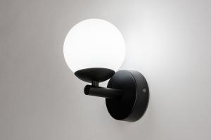 wandlamp 73989 modern retro eigentijds klassiek glas wit opaalglas metaal zwart mat wit mat rond