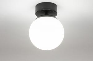 plafondlamp 73990 modern retro glas wit opaalglas metaal zwart mat wit mat rond