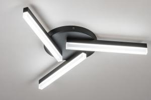 plafondlamp 73992 modern kunststof acrylaat kunststofglas metaal zwart mat