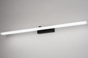 wandlamp 73995 modern kunststof acrylaat kunststofglas zwart mat wit mat langwerpig