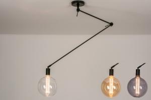 hanglamp 74003 industrie look modern metaal zwart mat rond langwerpig