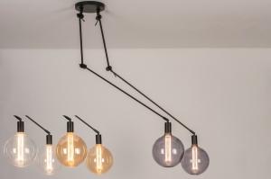 hanglamp 74004 industrie look modern metaal zwart mat rond langwerpig