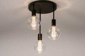 plafondlamp 74009 industrie look modern metaal zwart mat rond