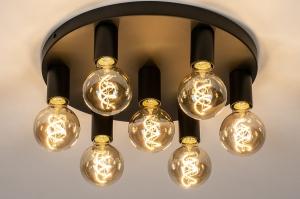 plafondlamp 74010 industrie look modern metaal zwart mat rond