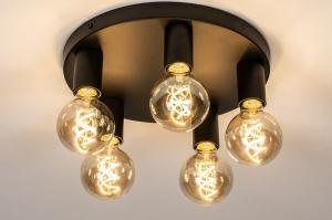 plafondlamp 74011 industrie look modern metaal zwart mat rond