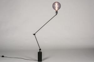 vloerlamp 74012 industrie look modern retro metaal zwart mat rond