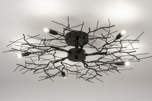 plafondlamp 74013 landelijk rustiek modern eigentijds klassiek metaal zwart mat rond