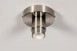 plafondlamp 74015 modern staal rvs metaal nikkel staalgrijs rond