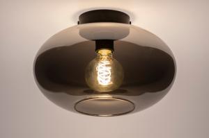 plafondlamp 74016 modern retro eigentijds klassiek art deco glas metaal zwart mat grijs rond