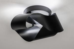 plafondlamp 74027 modern retro metaal zwart mat rond
