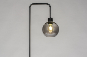 vloerlamp 74035 modern retro eigentijds klassiek art deco glas metaal zwart mat grijs rond