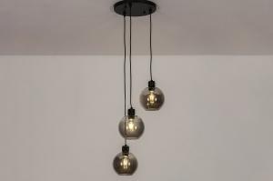 plafondlamp 74036 modern retro glas metaal zwart mat grijs rond