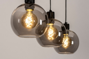 hanglamp 74037 modern retro glas metaal zwart mat grijs langwerpig