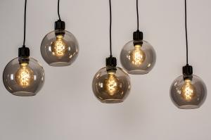 hanglamp 74038 modern retro glas metaal zwart mat grijs bruin langwerpig