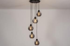 hanglamp 74039 modern retro glas metaal zwart mat grijs rond