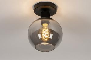 plafondlamp 74040 modern retro eigentijds klassiek art deco glas metaal zwart mat grijs rond