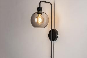 wandlamp 74041 modern retro eigentijds klassiek art deco glas metaal zwart mat grijs rond