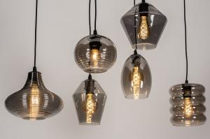 hanglamp 74042 modern retro eigentijds klassiek glas metaal zwart mat grijs bruin