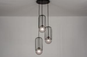 hanglamp 74045 modern glas metaal zwart mat