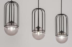 hanglamp 74047 modern glas metaal zwart mat langwerpig