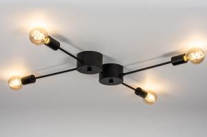 plafondlamp 74048 industrie look design modern stoer raw metaal zwart mat