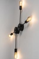 plafondlamp 74048 sale industrie look design modern stoer raw metaal zwart mat