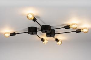 plafondlamp 74049 industrie look design modern stoer raw metaal zwart mat